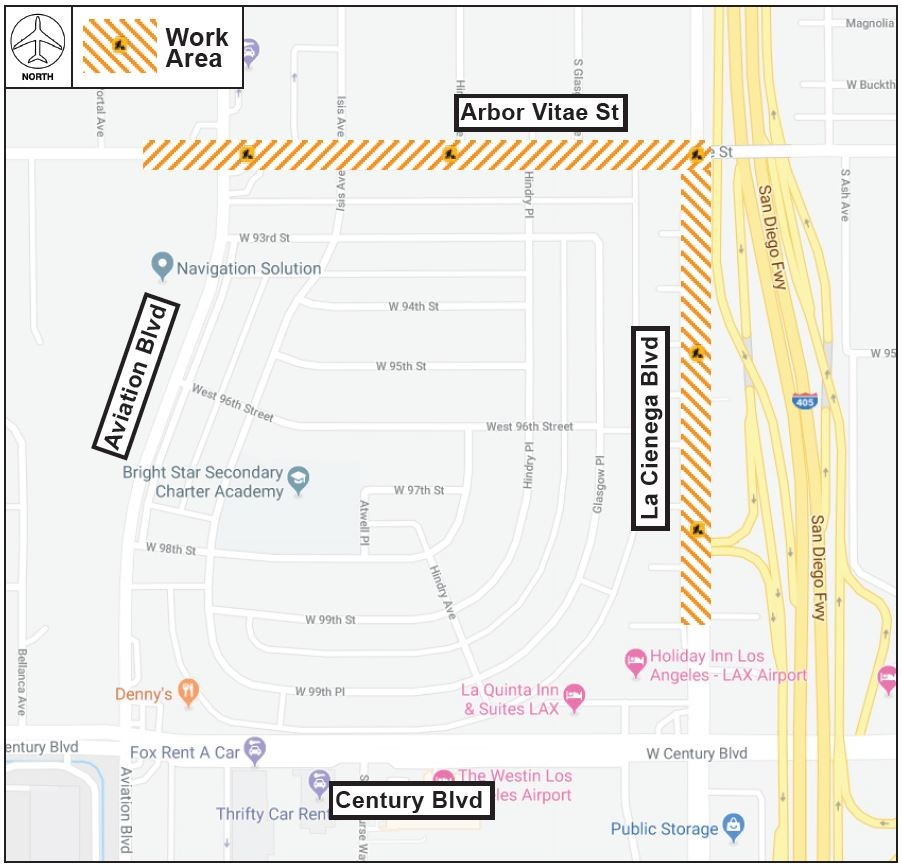 Intermittent Short-Term Lane Reductions on Arbor Vitae & La Cienega - Work Area