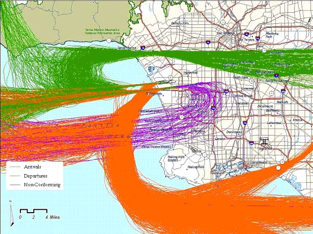 Sample of radar tracks superimposed - LAX Part 161 Project